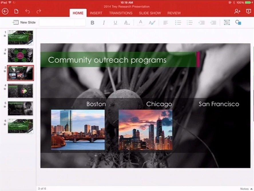Microsoft Office für iPad: PowerPoint