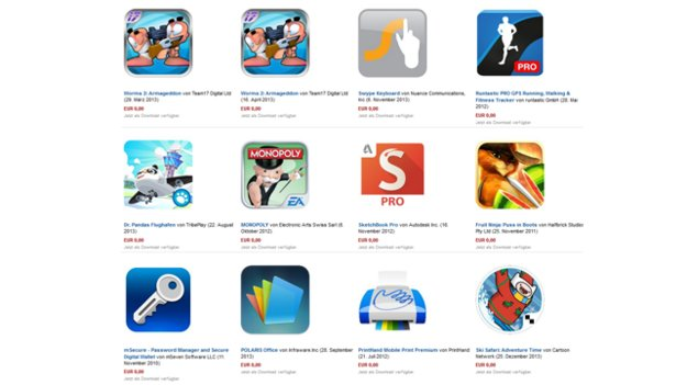 Heute gratis bei Amazon: Swype, Runtastic Pro, Worms 2, Monopoly & mehr