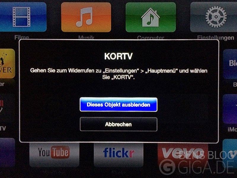 Apps auf dem Apple TV ausblenden - Bestätigen