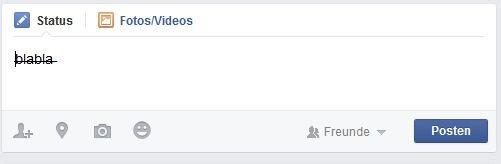 Facebook Text Durchstreichen