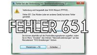 Lösung: Fehler 651 in Windows 7 (keine Internetverbindung)