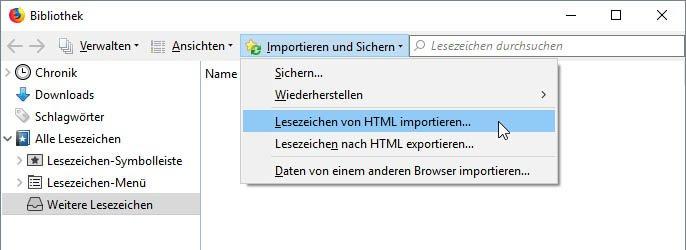 Hier importiert ihr euer Browser-Lesezeichen von einer HTML-Datei