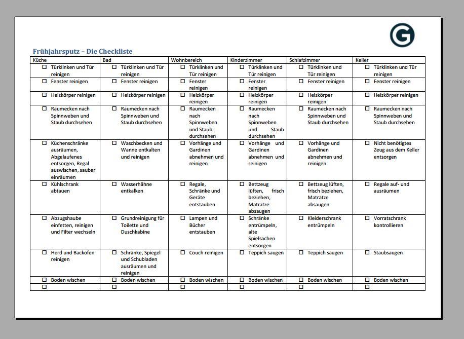 Frühjahrsputz Checkliste Download