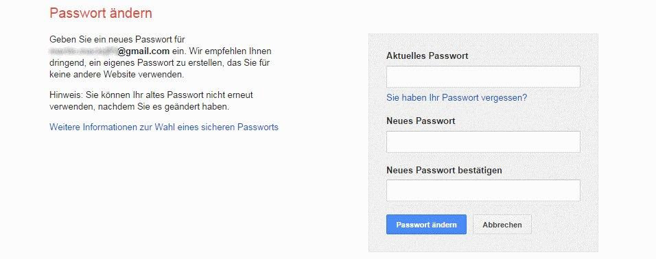 passwort wiederherstellen finden google