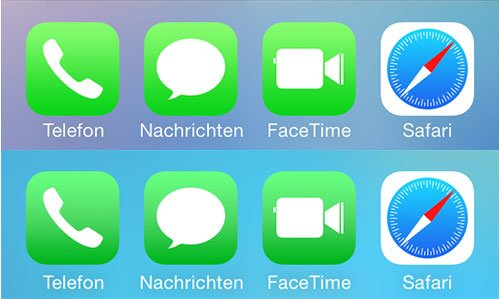 Dunklere Icons - oben iOS 7.0.6 - unten iOS 7.1