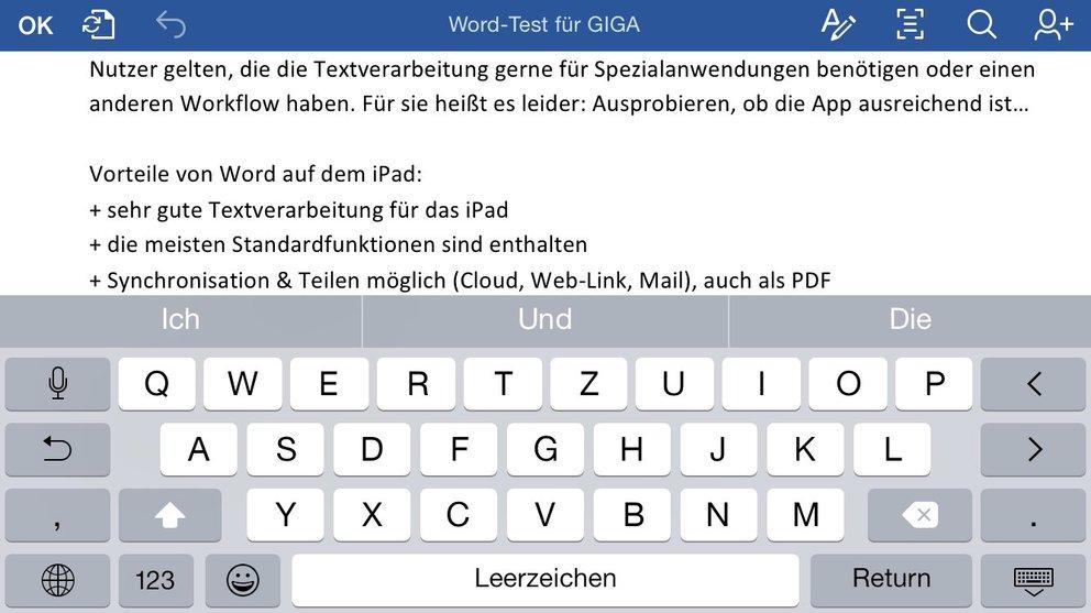 Die normale Queransicht von Word auf dem iPhone 6.