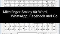 Mittelfinger Smiley mit Tastatur, auf iPhone, WhatsApp und bei Windows schreiben