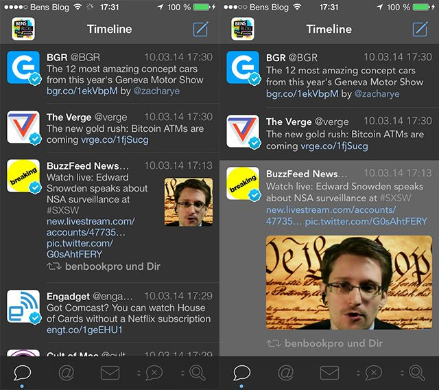 Links: alte, kleine Thumbnails mit Systemschrift - Rechts: große Thumbnails mit Avenir