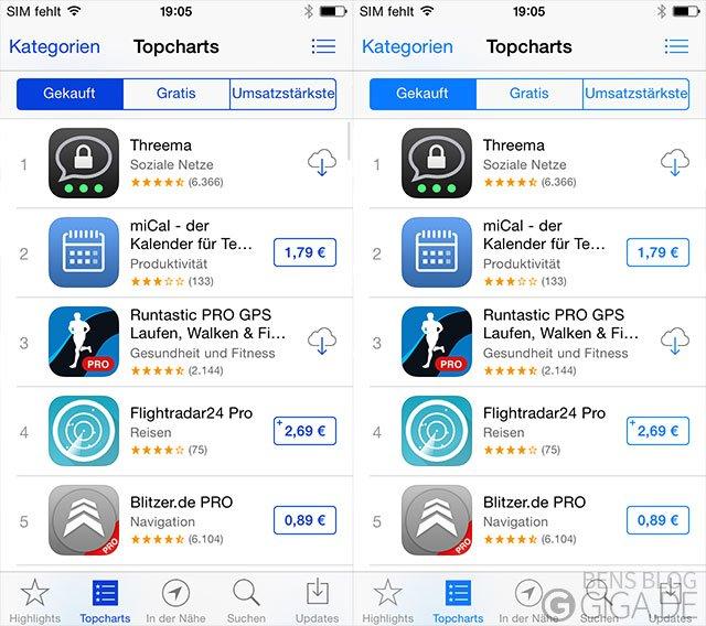 iOS 7 - Verdunkelte App-Farben