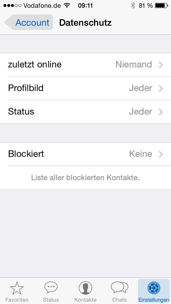 Whatsapp Online Status Verbergen Iphone Bild Für Bild