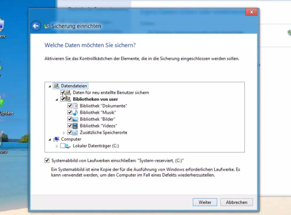 Mit wenigen Klicks wird unter Windows 8 eine neue Bibliothek erstellt, die dann ebenfalls ins Backup mit aufgenommen wird