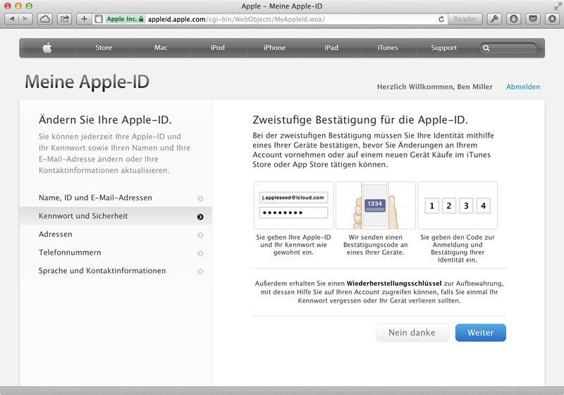 Zwei-Faktor-Authentifizierung bei Apple