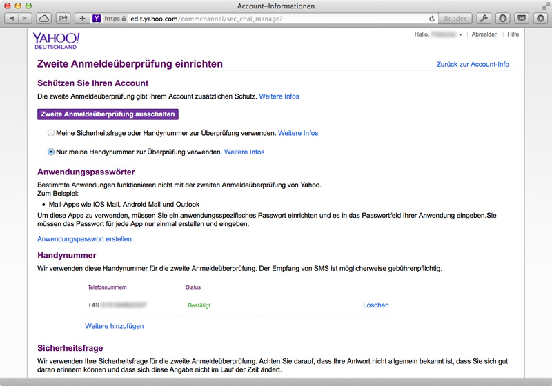 Yahoo Sicherheitseinstellungen