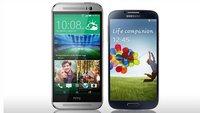 HTC One (M8) und  Samsung Galaxy S4 im direkten Vergleich