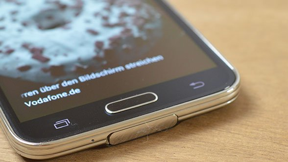 Home-Button des Galaxy S5 mit Fingerprint-Scanner