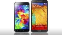 Samsung Galaxy S5 vs. Galaxy Note 3 im Vergleich