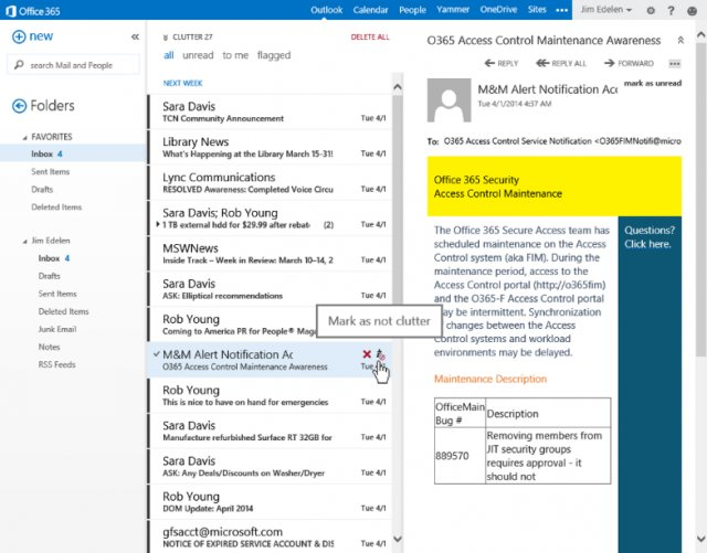 clutter tool ms office 365