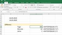 Excel: Datum subtrahieren & Differenz berechnen – so geht's