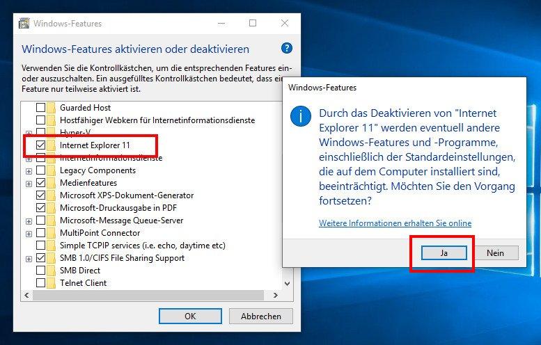 Internet Explorer Deinstallieren