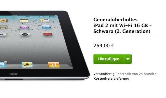 iPad 2 sehr günstig im Apple Refurbished Store