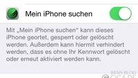 Bug in iOS 7 soll Deaktivieren von Find My iPhone ohne Passwort ermöglichen