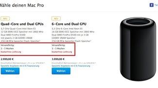 Mac Pro: Jetzt binnen drei bis fünf Wochen lieferbar