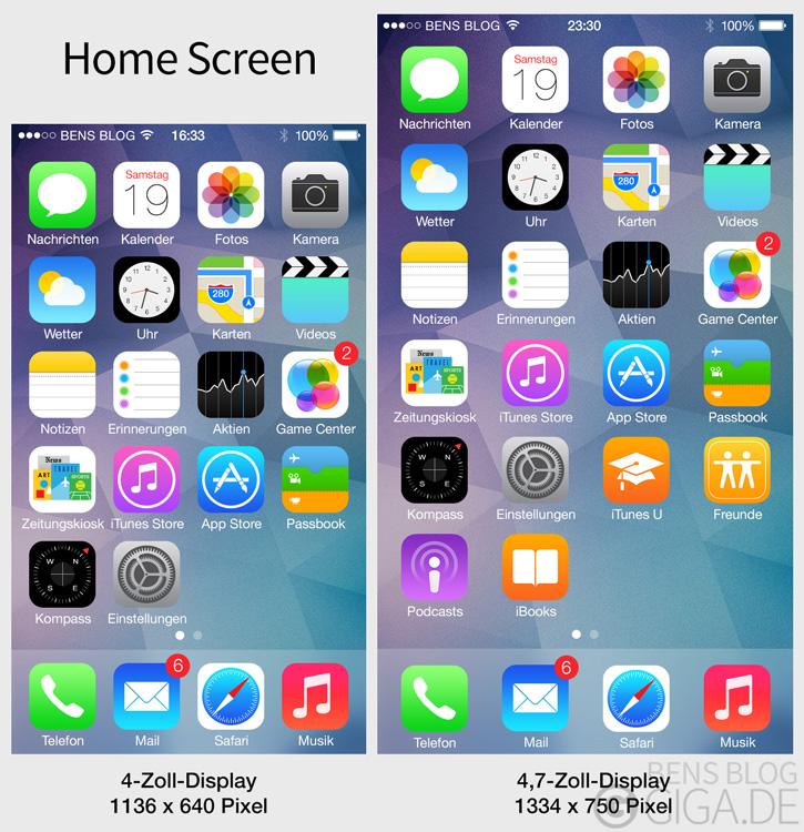 iphone 6 so sehen apps auf dem 4 7 zoll display aus giga. Black Bedroom Furniture Sets. Home Design Ideas