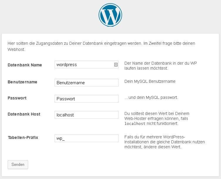wordpress installieren daten eingeben