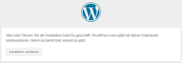 wordpress installieren ok