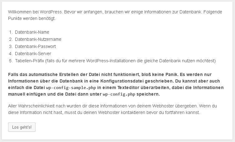 wordpress installieren schritt2