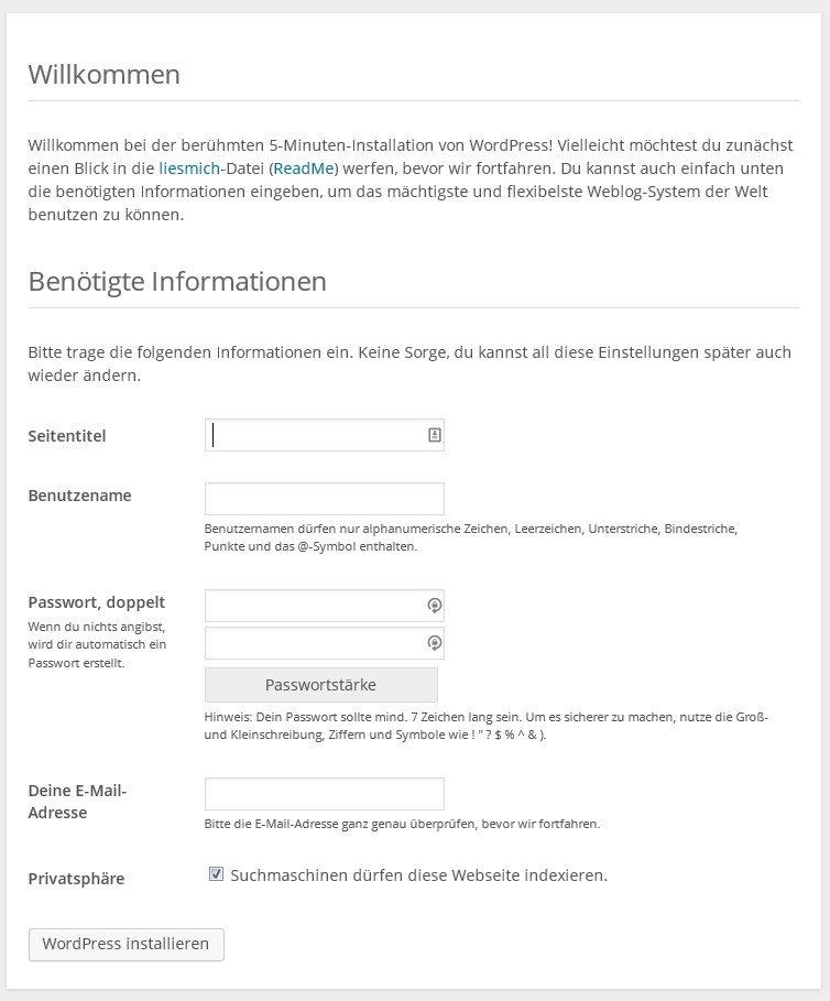 wordpress installieren willkommen