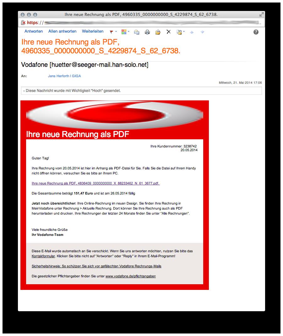 Vodafone (Rechnung) Phishing-Mails im Umlauf (Vorsicht!) – GIGA