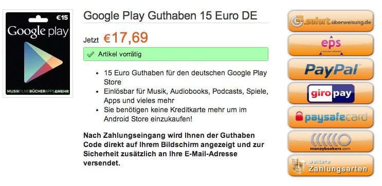 b4a2dc60df3857 Playgutschein.de: Google Play-Guthaben online kaufen