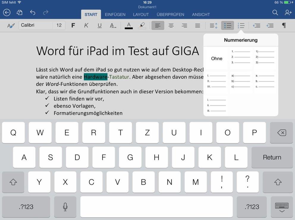 Word-Test_iPad-App_Formatierung