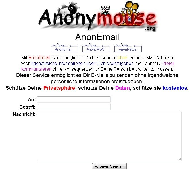 anonyme email anonymouse