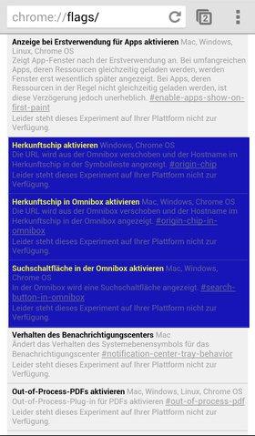 Mit der Omnibox experimentieren können bis jetzt nur Mac- Windows & Linux-Nutzer | Quelle: Screenshot