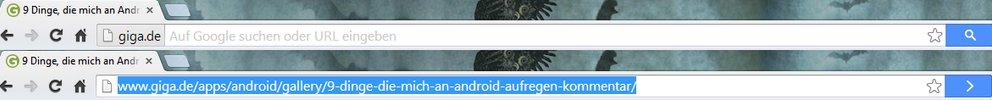 Erst beim Klick auf die Domain erscheint die komplette Adresse | Screenshot: Google Chrome Beta