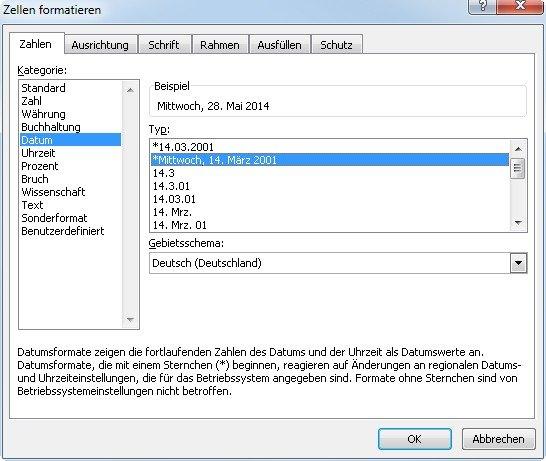 Mit der richtigen Formatierung gibt Excel Wochentage direkt in derselben Zelle aus
