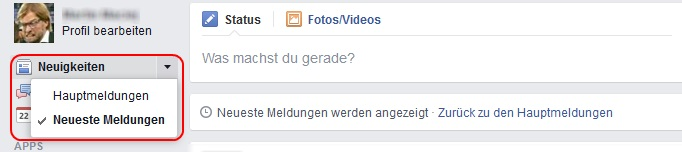 Facebook Meldungen