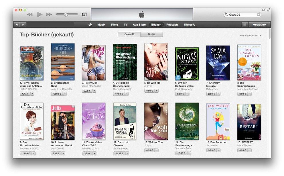 iTunes Store: Für jede Kategorie gibt es Download-Charts.