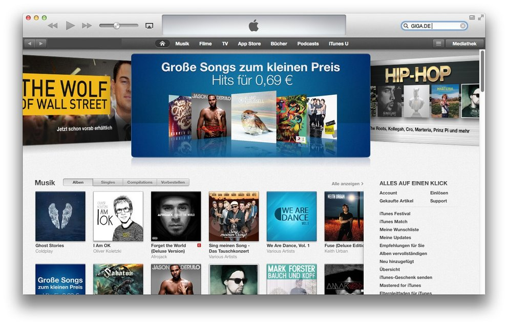 Der iTunes Store in iTunes.