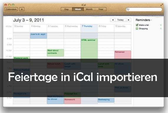 iCal: Feiertage und Ferien in den Kalender einfügen
