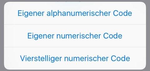 iPhone-Code: Die verschiedenen Optionen.