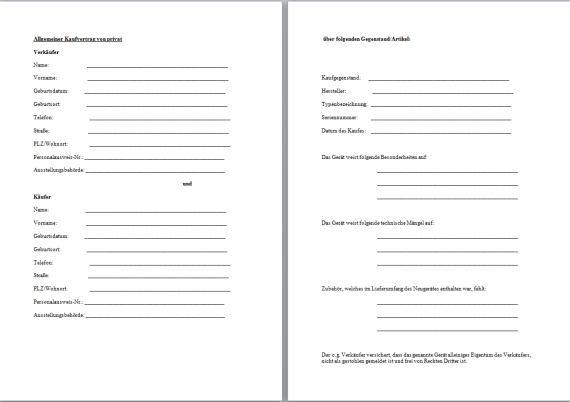 Kaufvertrag privat gegenstand pdf