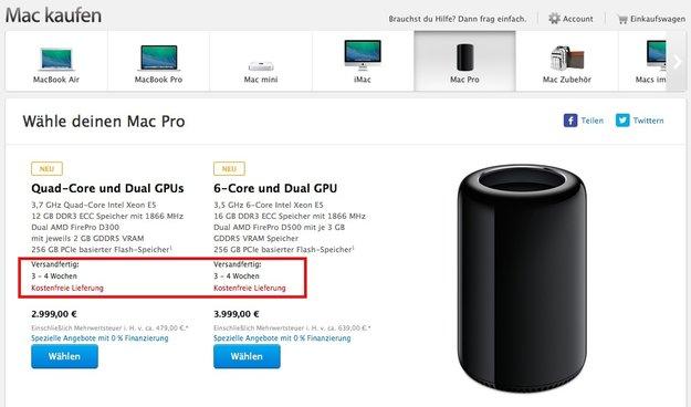 Mac Pro: Jetzt binnen drei bis vier Wochen lieferbar