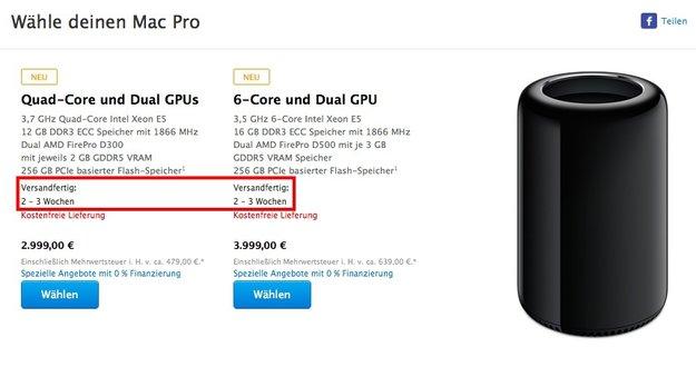 Mac Pro: Lieferzeiten jetzt binnen zwei bis drei Wochen
