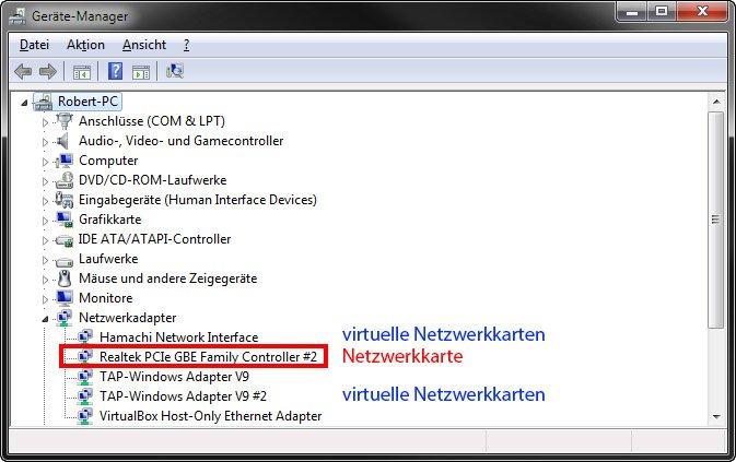 Hier ist der Ethernet-Controller der richtigen Netzwerkkarte. Die anderen sind virtuelle Netzwerkadapter.
