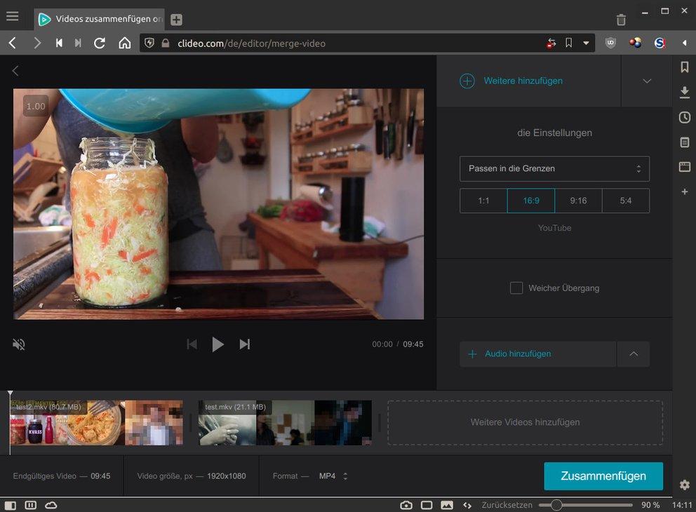 """Mit """"clideo.com"""" könnt ihr Videos online zusammenfügen. Bild: GIGA"""