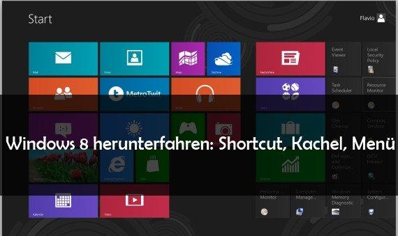 Windows 8 herunterfahren: Per Shortcut, Kachel, Button und auf dem Desktop