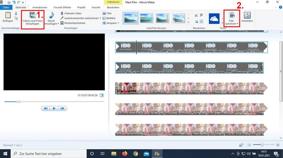 """Der """"Windows Movie Maker"""" fügt Filme sehr einfach zusammen. Bild: GIGA"""